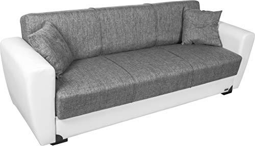 Enrico coveri contemporary divano letto 3 posti bianco e grigio, elegante con funzione letto in tessuto ed ecopelle, dimensioni: 220 x 85 x 85 cm
