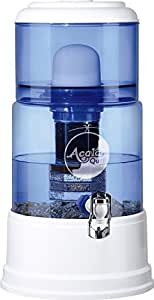 AcalaQuell SMART Water Filter System | White | with Glass Tank | Blue. Crystal Glass Reservoir with a capacity of 8 litres. Best Natural Gravity Filtration Technology.