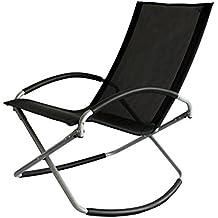 Trueshopping Como Loisirs Chaise Foldable Black Easy Care Tissu Textilene Chaise à bascule pratique pratique et élégante. Gentle Slight Rocking Motion très relaxant