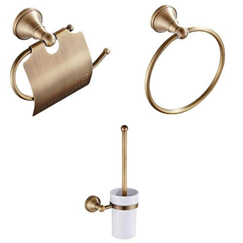 Magideal Ring-Handtuch + sostenedor Toilettenpapierhalter mit Abdeckung + Bürste limpiainodoro