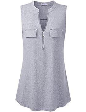 Bulotus Mujeres Atractivas Cuello En V Sin Mangas TES De Las Camisetas Blusas Camiseta sin Mangas con Cremallera