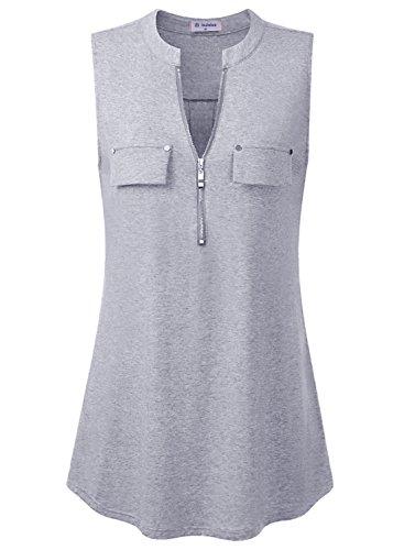 Bulotus Damen V-Ausschnitt Falten T-Shirt Beliebt Ärmellos Stretch Tunika Top Sommer(Grau XXL) (Stretch-rayon Spandex)