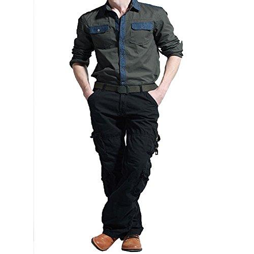 Newfacelook Pantalon Cargo Combat Trousers Jeans Militaires Work Wear Pants Noir