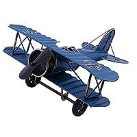 IUU Large Retro Iron Aircraft Handicraft Vintage Airplane Model Metal Biplane Plane Aircraft Models Metal Handicraft Home Decor Ornament Toy Handicraft Souvenir (Blue)