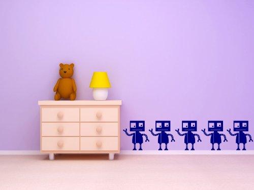 Children', Kinderzimmer, Junge, Roboter, vinyl-Grafik x5 (NAVY BLUE)