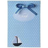 15 Einladungskarten und 15 Dankeskarten zur Taufe - Taufkartenset 'Boaty' - inkl. Tischkarten, Schleifenband - einfach selbst bedrucken