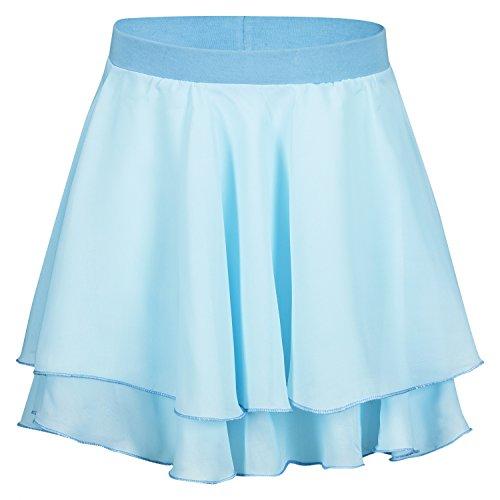 """tanzmuster Kinder Ballettrock """"Elli"""" mit elastischem Bund aus Baumwolle. Luftiges Ballettröckchen aus Chiffon in hellblau, Größe:140/146"""