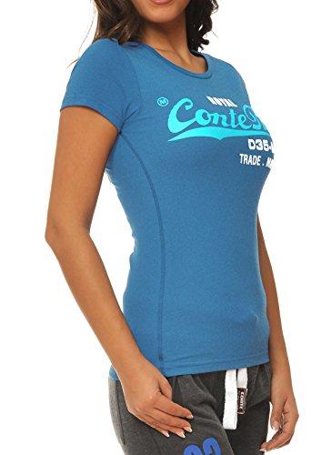 M.Conte Damen T-Shirt Kurzarm T Sweat-Shirt Neon-Pink Lila Grau Blau Rose Rot Grün Schwarz Marine Blau S M L XL Farbe Romana Royal Blau
