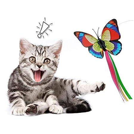 Schmetterlings-Fliege Elektrische Katze Spielzeug, Elektro-Katze-Spielzeug-Karussell Elektrische Drehscheibe Puzzle Katze-Spielzeug Verrücktes Spiel Disk mit rotierendem Schmetterlinge automatischen K