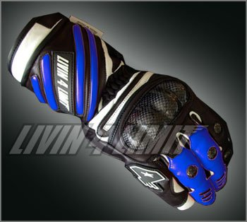 4LIMIT Sports gants moto >>SPIDER<< en cuir bleu-noir