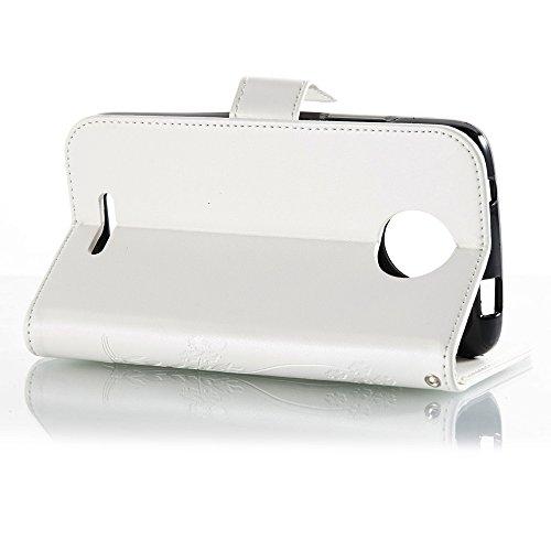 EKINHUI Case Cover Horizontale Folio Flip Stand Muster PU Leder Geldbörse Tasche Tasche mit geprägten Blumen & Lanyard & Card Slots für MOTO C / MC ( Color : Coffee ) White