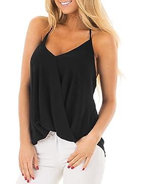 ACHIOOWA Mujer Camiseta Elegante Casual Playa Sin Manga Camisola Escote Tirantes Espalda Descubierta Cuello V...