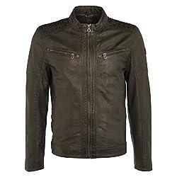 Gipsy Herren Bikerjacke Lederjacke Finley SF LACHIV Jacket Slimfit Blouson (XL, Anthrazit)