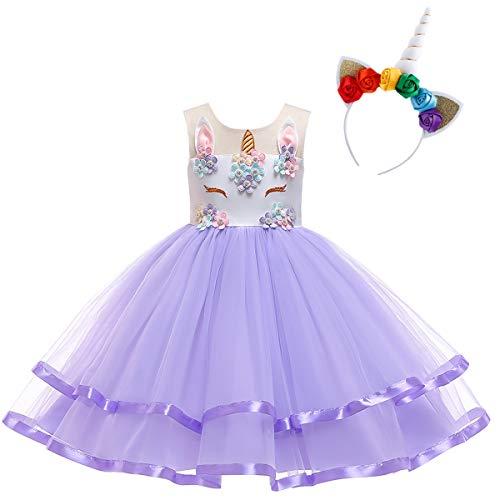 Mädchen Kostüm Geburtstag - OBEEII Kinder Festliche Kleider Mädchen Einhorn Kostüm Karneval Weihnachten Allerheilige Geburtstag Geschenk Baby Kinder Prinzessin Kleid 6-7 Jahre