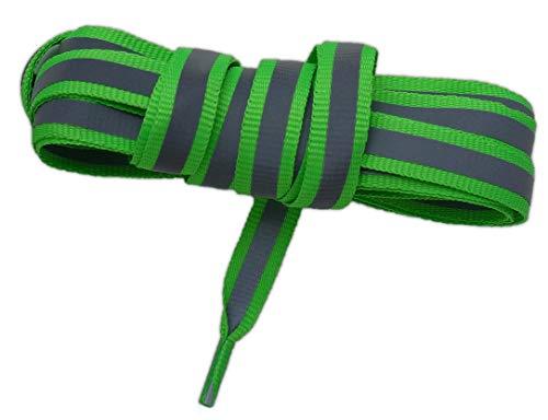 NEON Reflektierende Schnürsenkel flach 125cm (grün fluoreszierend) -