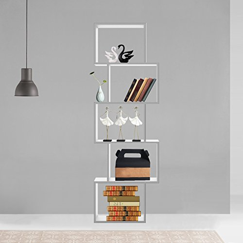 Wohaga® Standregal 50x24xH152cm, 5 Fächer, Weiß, Wandregal Holzregal Dekoregal Bücherregal Treppenregal Regal Bücherschrank (5-regal Bücherregal Bücherschrank)