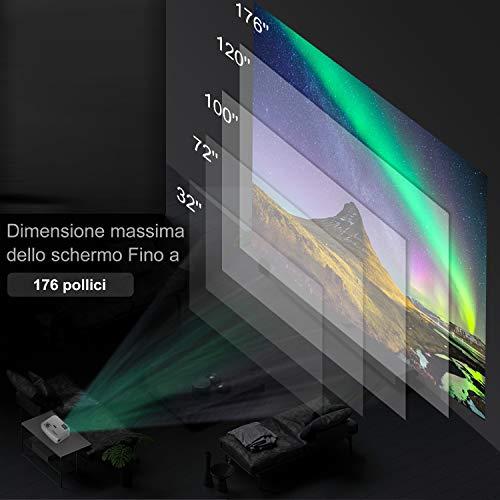 ABOX Proiettore, Mini Proiettore Portatile 2400 Lumen, LED Videoproiettore Risoluzione Massima 1080P Supportato, per Casa/Viaggio/Estero, Compatibile Android/iOS / PS4 / TV Box/Micro SD