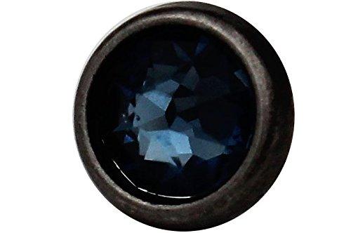 kleine Metallknöpfe silber antik, Metall Knöpfe mit echtem Swarovski Kristall Strass in hell blau 10mm (6 Stück) (Kleine Kristall-knöpfe)