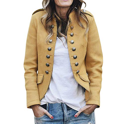 Damen Zweireiher Jacke, LeeMon Frauen Retro Button Pockets Bomberjacke Freizeitmantel Outwear Punk Jacke Business Mantel Blazer Anzug Langarmshirts Slim Jacket Outwear