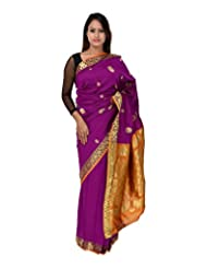 A1 Fashion Women Silk Purple Saree With Blouse Piece - B00VUS0TJ8