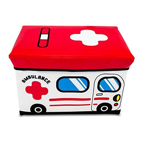 VENKON - Faltbare Sitzbank mit Aufbewahrungsfunktion für Kinderzimmer - Ambulance - Kunstlederbezug - 49 x 31 x 32 cm