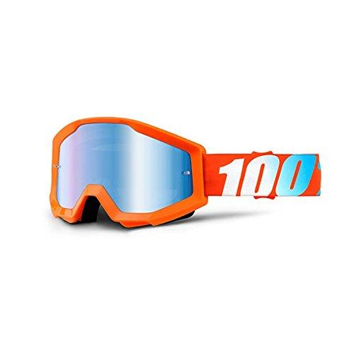 100% STRATA Brille - Spiegel Blau Linse, Orange , Größe One Size