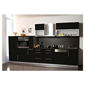 k che k chenzeile k chenblock 370 cm schwarz hochglanz k hlschrank a backofen a. Black Bedroom Furniture Sets. Home Design Ideas