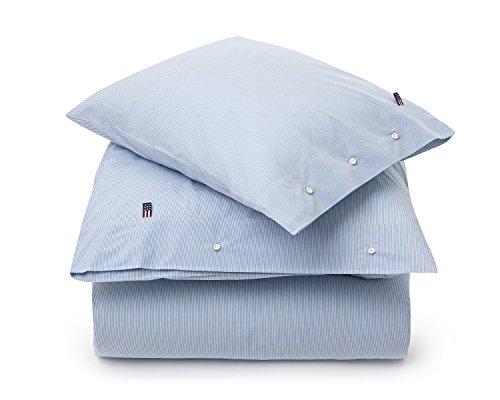 LEXINGTON Mini Stripe Popeline Bettbezug, weiß/blau, Betten (Aus Stripe Bettwäsche Baumwolle Mini)