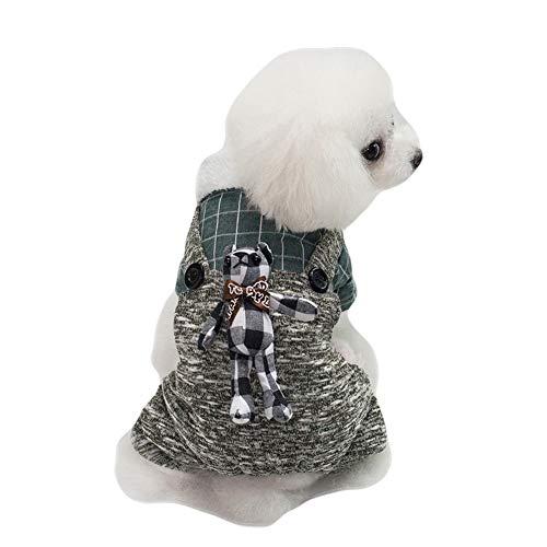 Kaninchen Kostüm Muster - GLZKA Hund vierbeinige Kleidung Baumwolle britischen Stil Plaid Kaninchen Muster Haustier Kostüm für Beauty-Fotografie-Party und das tägliche Leben,Grün,S