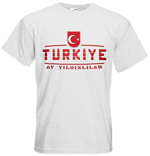 Türkei Türkiye Fanshirt T-Shirt Länder-Shirt im modernen Look Weiß