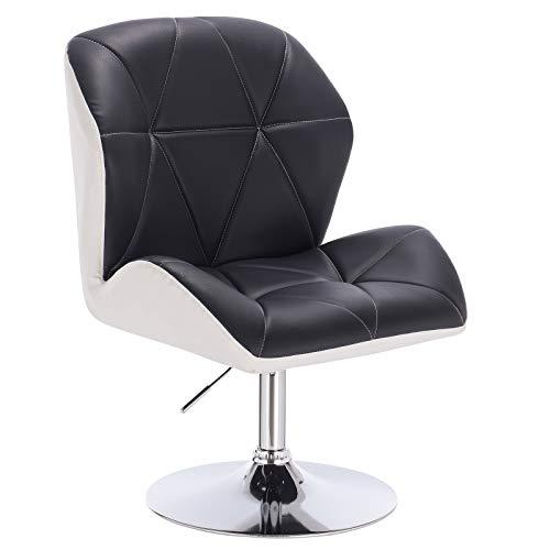 WOLTU® BH115szw-1 1x Barhocker Barsessel Loungesessel, stufenlose Höhenverstellung, verchromter Stahl, gut gepolsterte Sitzfläche mit Armlehne und Rücklehne, Kunstleder, 2 farbig, Schwarz+Weiß