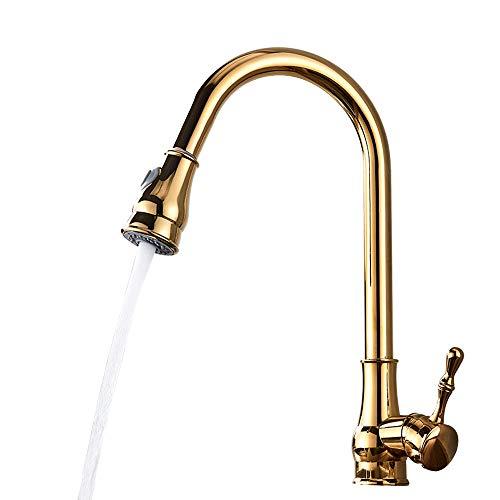 Tan Kitchen Sink Armaturen Single Griff Einloch-Schwenker 360 Grad Ziehen 3 Funktionen Wassermischbatterie Messing Gold