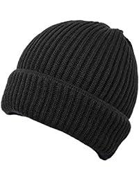 Verline Gorro de Lana de Merino de Feins Trick Suave y cálido Color Negro  con Doble 89c25fec2a9