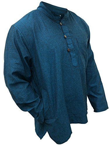 Shopoholic Fashion leicht Hippie Festival Großvater Shirt Türkisblau