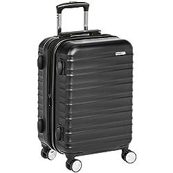 AmazonBasics Valise rigide à roulettes pivotantes de qualité supérieure avec serrure TSA intégrée, Taille cabine 55 cm, Noir