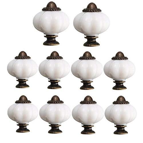 Faneli - Juego de 10 pomos de cerámica para Interior de Cocina, Cuarto de baño, Juego de 10 Unidades, 32 mm, Tiradores para Muebles