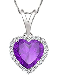 "Silvernshine 7mm Amethyst & Sim Diamond Halo Heart Pendant 18"" Chain In 14K White Gold Fn"