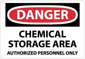 NMC D240AB OSHA Bournville, leyenda 'peligro - química zona de almacenamiento personal autorizado sólo', 35,56 cm, longitud x 25,4 cm, altura, aluminio, rojo/negro blanco NMC