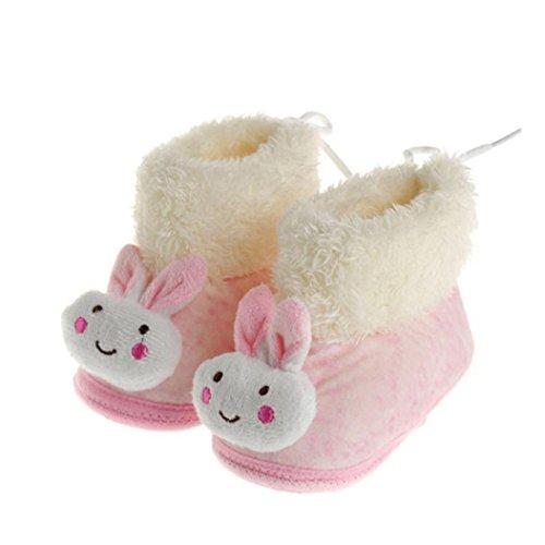 OverDose Säugling Baby Schuhe Gehen Kleinkind Mädchen Jungen Krippe Schuhe Weiche Baumwolle Stiefel (0-12 Monate) Rosa