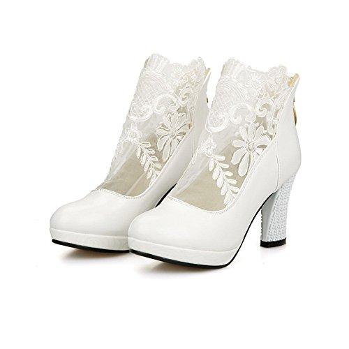 Sconosciuto 1TO9 Girls zipper Lace Dress poliuretano pumps-shoes White