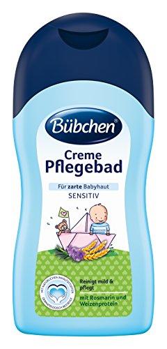 Bübchen Creme Pflegebad Sensitiv (milder Baby Badezusatz für empfindliche Haut, mild zu den Augen) 1 x 400 ml