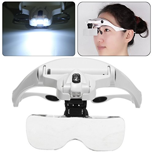 Lupenbrille, LED Wimpernverlängerung Lupe Vergrößerungsgläser Lupe Stirnband mit LED-Licht 5 Abnehmbare Linsen 1.0X 1.5X 2.0X 2.5X 3.5X für Make-up, Tattoo, Hobby, - Briefmarken überprüfen