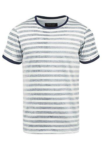 Indicode Reni Herren T-Shirt Kurzarm Shirt Mit Streifen Und Rundhalsausschnitt 100% Baumwolle, Größe:M, Farbe:Navy (400) (T-shirt Streifen)