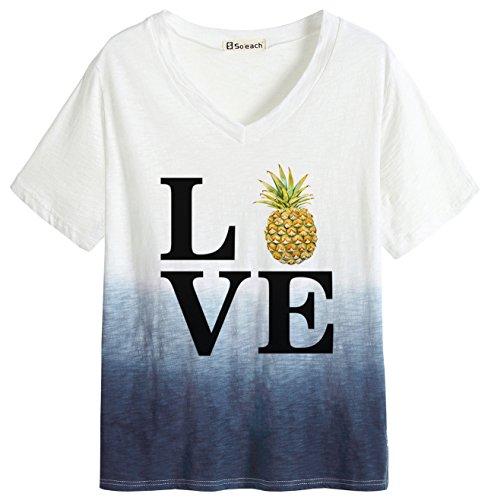 So'each Women's Love Pineapple Letters Dip Dye Tee T-Shirt Ladies Casual Top (Dip Dye Schuhe)