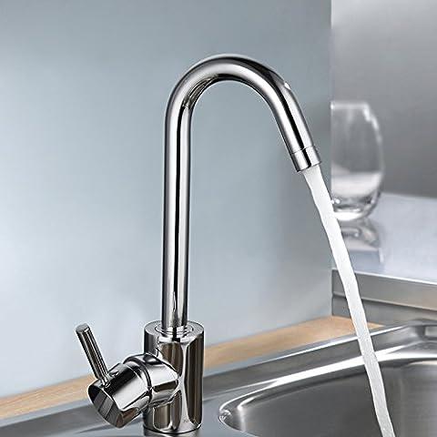 A 360 gradi di rotazione di cucina di rame sottile e calda acqua di rubinetto fredda lavello in acciaio inox rubinetto