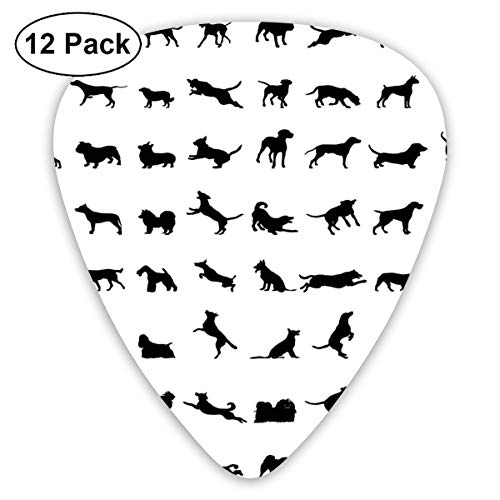 Celluloid Guitar Picks - 12 Pack,Abstract Art Colorful Designs,Different Silhouettes Dogs Various Breeds Corgi Golden Retriever Pitbull,For Bass Electric & Acoustic Guitars. -