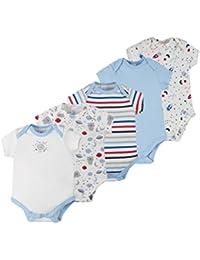 C&A Baby Jungen Bodies 5-er Pack kurzarm gestreift Raketen und Planeten-Print rot blau weiß