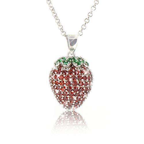PAVEL´S Damen Halskette ERDBEERE aus reinem 925 Silber Kette mit Erdbeer Anhänger mit roten und grünen Zirkonia Steinen in AAA Qualität inkl. Schmuckbox + Echtheits-Zertifikat -
