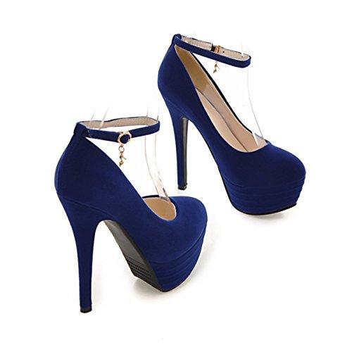 YE Shoes Knöchelriemchen Stiletto High Heels Plateau Wildleder Pumps mit Roter Sohle Schnalle Elegant Party Schuhe Damen Blau