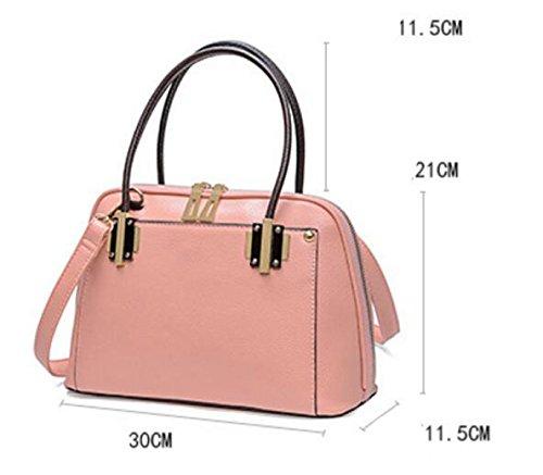 Damen Handtasche Litschi Muster Muschel Tasche Schultertasche Diagonal Paket Einfach Pink